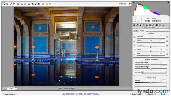 Correcting lens distortion: Up and Running with Photoshop for Photography