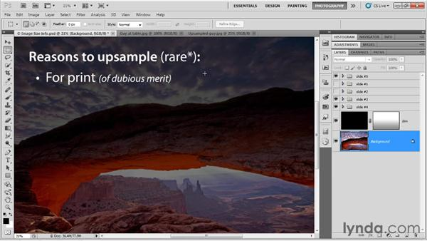 Understanding image size and resolution: Up and Running with Photoshop for Photography