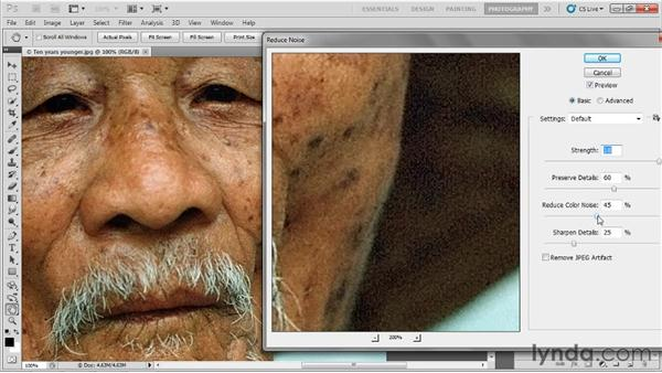 Reducing digital noise: Up and Running with Photoshop for Photography