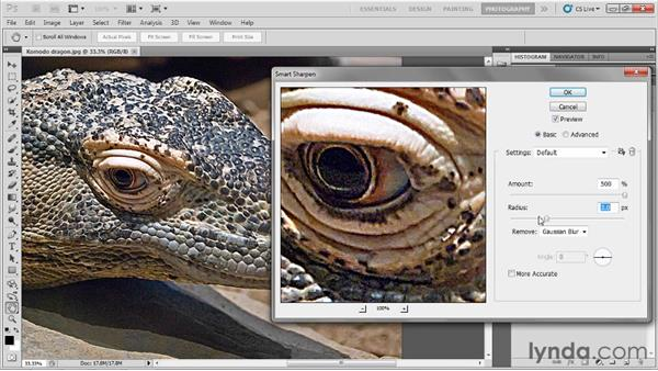 Sharpening edge details: Up and Running with Photoshop for Photography