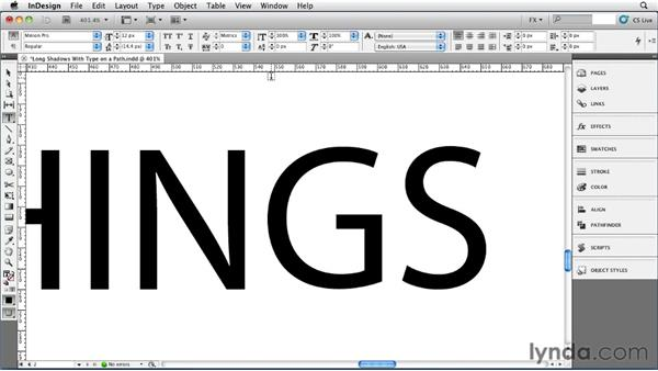 004 Creating Long Text Shadows with Type on a Path: InDesign FX