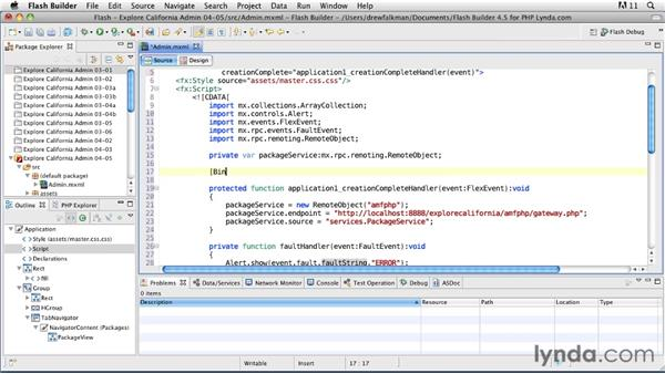Using RemoteObject and handling service events: Flex 4.5 and PHP: Creating Data-Driven Applications