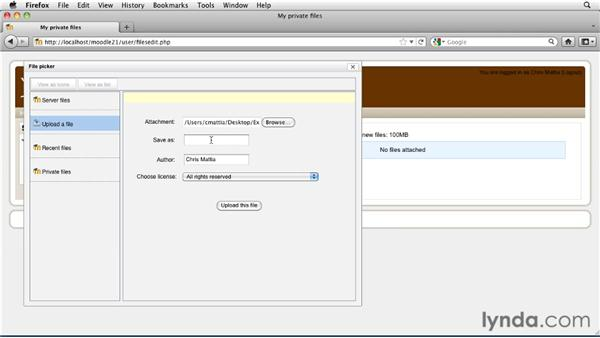 Managing private files: Moodle 2.1 Essential Training for Teachers