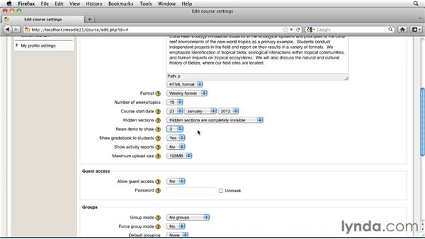 Customizing course settings: Moodle 2.1 Essential Training for Teachers