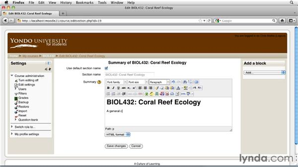 Editing the header block: Moodle 2.1 Essential Training for Teachers