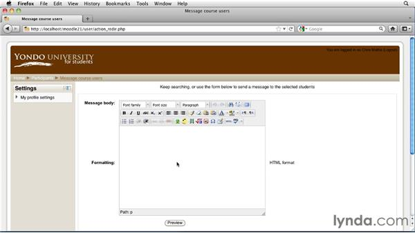 Messaging students: Moodle 2.1 Essential Training for Teachers
