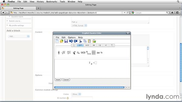 Creating equations: Moodle 2.1 Essential Training for Teachers