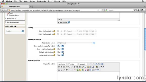 Creating a customized Feedback activity: Moodle 2.1 Essential Training for Teachers