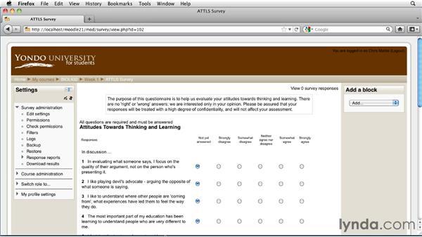 Adding a standardized survey: Moodle 2.1 Essential Training for Teachers