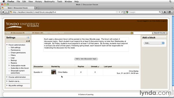 Seeding a forum with questions: Moodle 2.1 Essential Training for Teachers