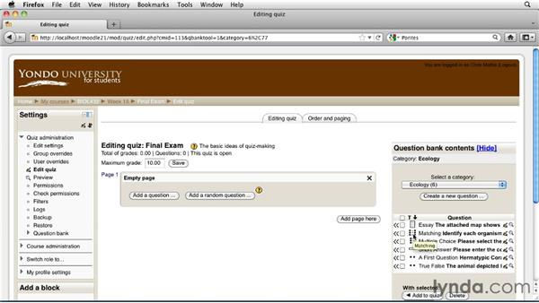 Adding questions to a quiz: Moodle 2.1 Essential Training for Teachers