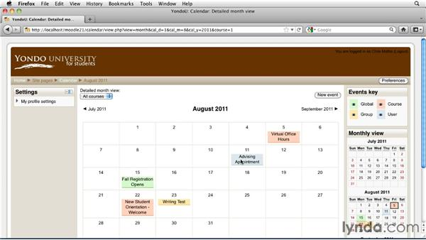 Calendars and events overview: Moodle 2.1 Essential Training for Teachers