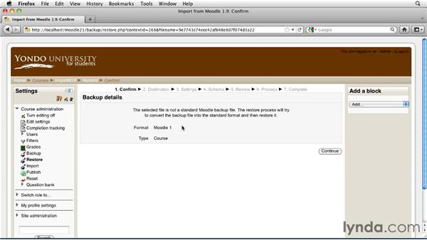 Restoring a Moodle 1.9 course into Moodle 2.1: Moodle 2.1 Essential Training for Teachers