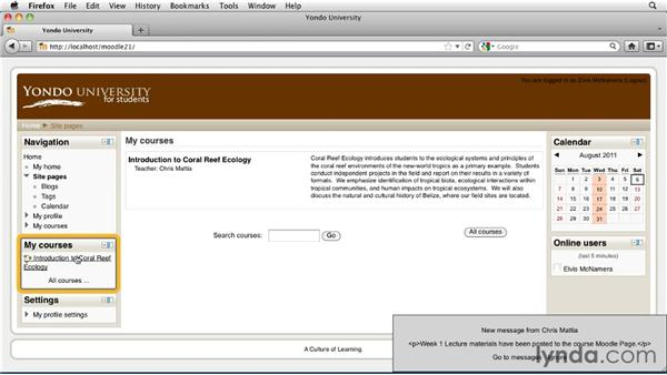 Login overview: Moodle 2.1 Essential Training for Students