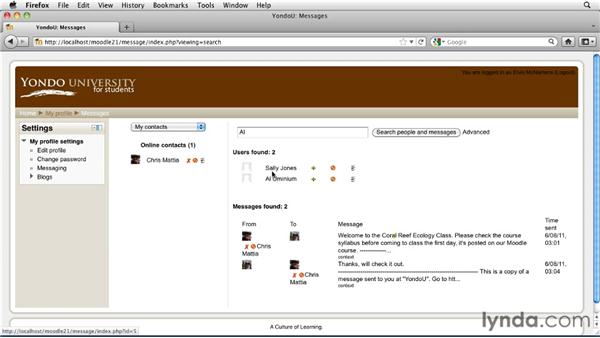 Messaging inside Moodle: Moodle 2.1 Essential Training for Students