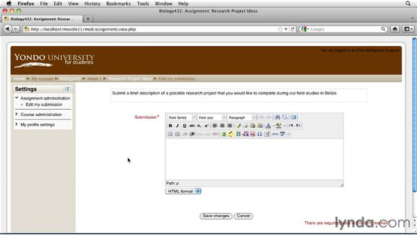 Completing text assignments: Moodle 2.1 Essential Training for Students