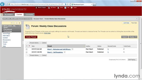 Navigating a discussion board: Blackboard 9.x Essential Training for Students