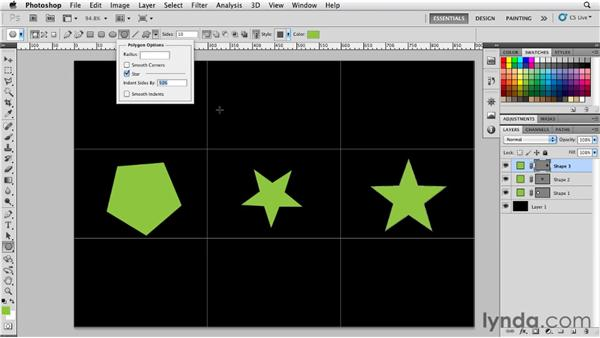 Drawing polygons and stars: Photoshop for Designers: Shape Layers