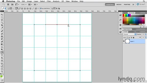 Drawing pen paths by adding, deleting, and converting anchor points: Photoshop for Designers: Shape Layers