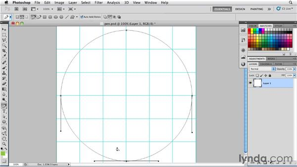 Drawing pen paths with hybrid anchor points: Photoshop for Designers: Shape Layers