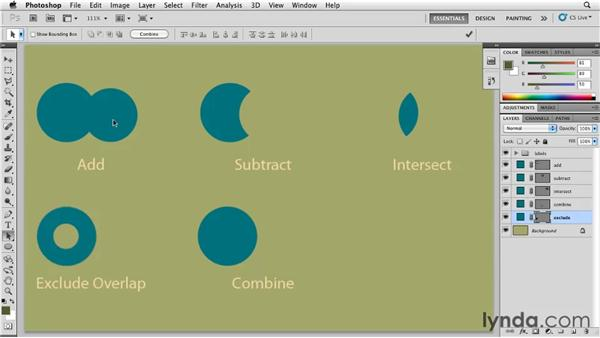 Adding, subtracting, intersecting, excluding, and combining shapes: Photoshop for Designers: Shape Layers