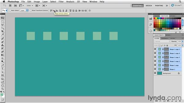 Aligning and distributing shapes: Photoshop for Designers: Shape Layers