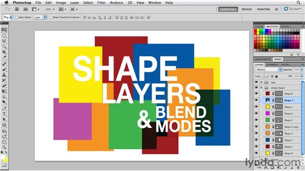 Applying blend modes to shape layers: Photoshop for Designers: Shape Layers