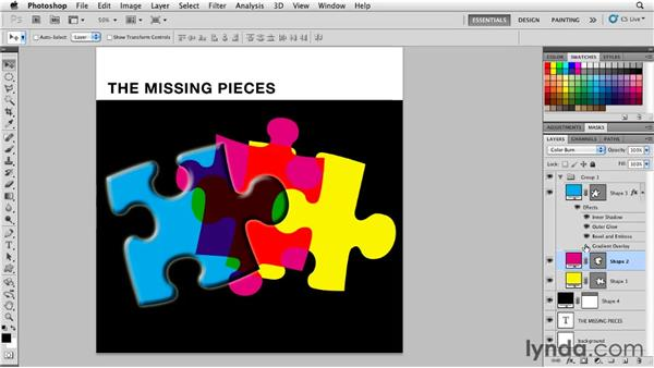 Applying layer effects and styles to shape layers: Photoshop for Designers: Shape Layers