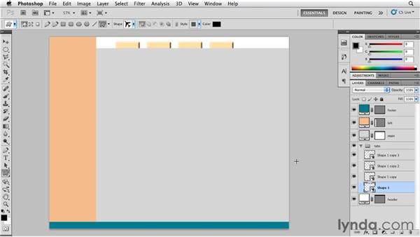 Creating web buttons using shape layers: Photoshop for Designers: Shape Layers