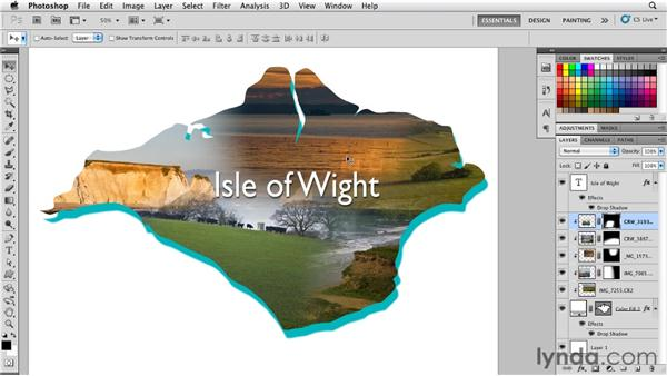 Using shape layers to mask multiple layers: Photoshop for Designers: Shape Layers