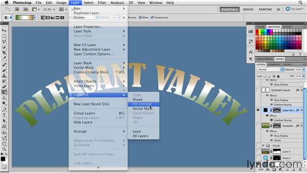 Using shape layers to apply custom gradients to type: Photoshop for Designers: Shape Layers