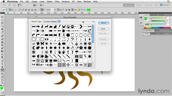 Saving and loading shapes with the Preset Manager : Photoshop for Designers: Shape Layers