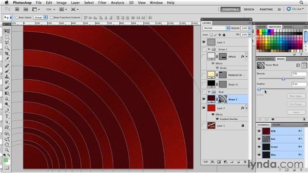Adjusting vector mask density: Photoshop for Designers: Shape Layers