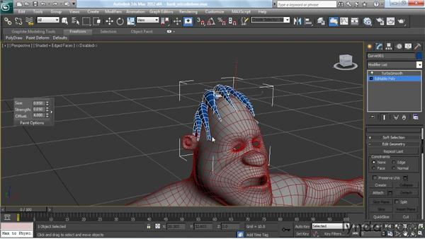 Sculpting the polygon hair clumps: Modeling a Character in 3ds Max