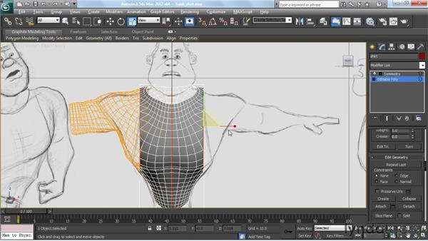 Creating the shirt: Modeling a Character in 3ds Max