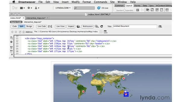 Positioning the dots on the map: Create an Interactive Map with jQuery and Dreamweaver