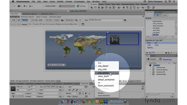 Adding structure for the city details: Create an Interactive Map with jQuery and Dreamweaver