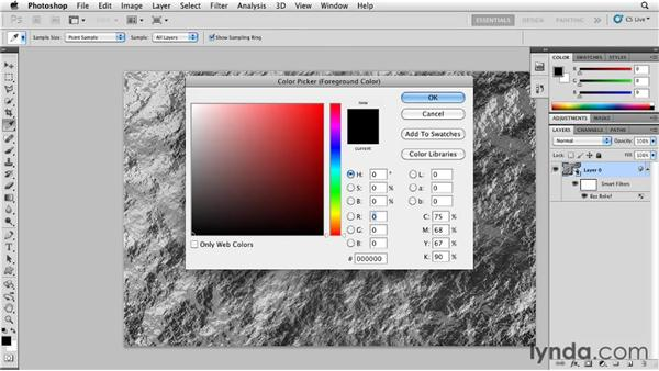 Creating a rocklike texture with Clouds: Photoshop for Designers: Textures