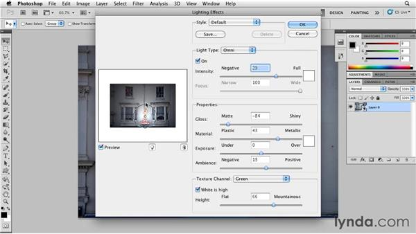 Applying a texture channel with Lighting Effects: Photoshop for Designers: Textures