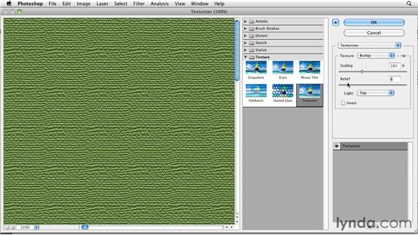 Applying textures with Texturizer: Photoshop for Designers: Textures