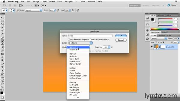 Adding noise to an overlay layer: Photoshop for Designers: Textures