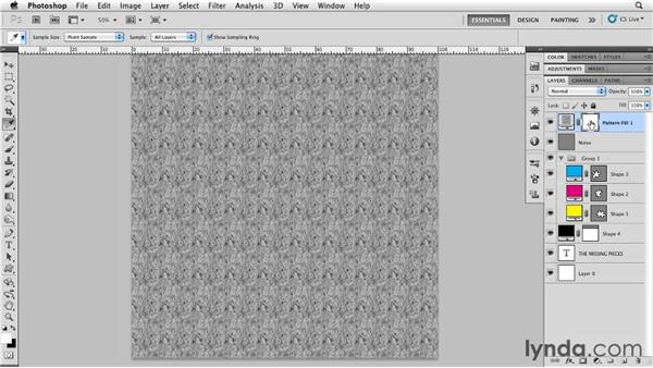Blending texture from a pattern fill: Photoshop for Designers: Textures