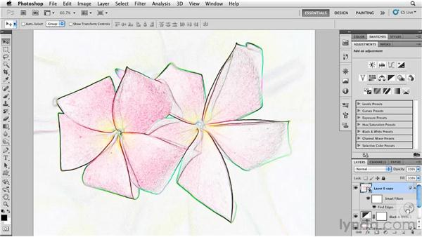 Converting a photograph to a drawing with Find Edges: Photoshop for Designers: Textures