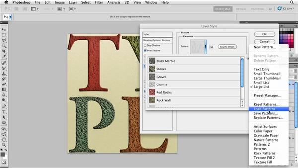 Applying texture to type with layer effects: Photoshop for Designers: Textures
