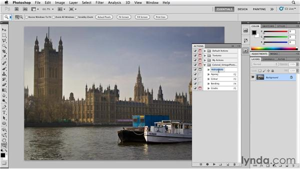 Finding, downloading, and installing actions: Photoshop for Designers: Textures