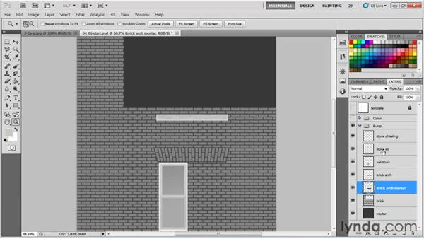 Desaturating the diffuse map copies and prepping for normal maps: Creating Urban Game Environments in 3ds Max