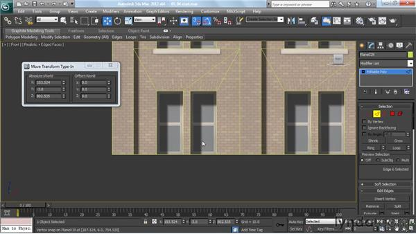 Extruding cornice elements from polygon edges: Creating Urban Game Environments in 3ds Max
