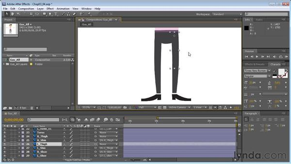 Creating leg hierarchies for efficient walks: Creating Animated Characters in After Effects