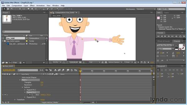Adding puppet pins to a character: Creating Animated Characters in After Effects