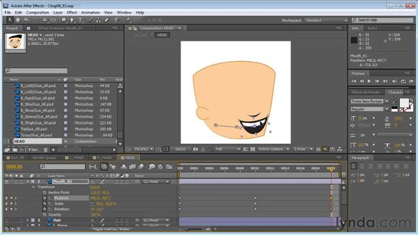 Creating a head turn: Facial features: Creating Animated Characters in After Effects